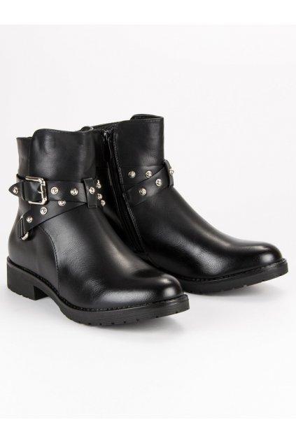 Čierne dámske topánky NJSK A3312B