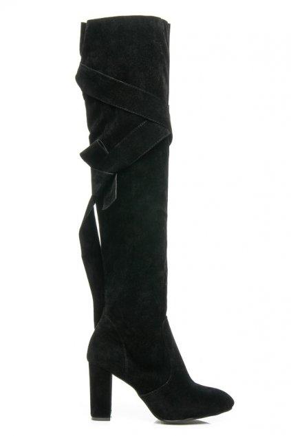 Semišové čierne čižmy T009-1B