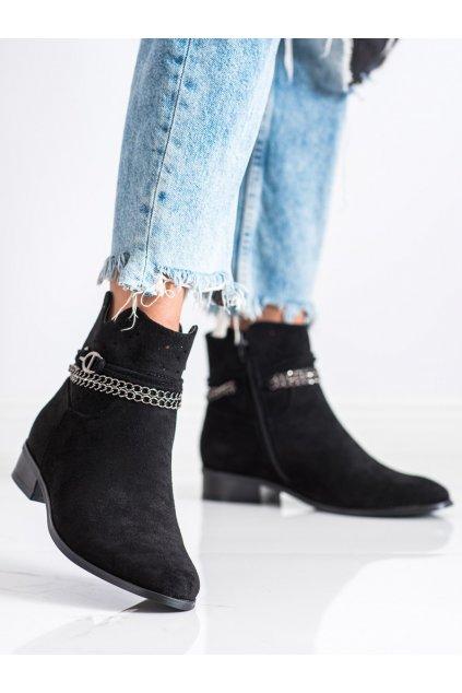 Čierne dámske topánky Vinceza kod XY21-10578B