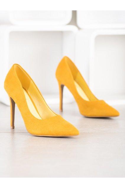 Žlté dámske lodičky NJSK S-611Y