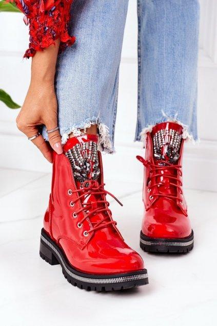 Členkové topánky na podpätku farba červená kód obuvi NC1139 RED