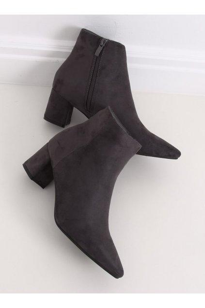 Dámske členkové topánky sivé na širokom podpätku W27016