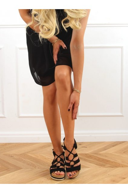 Dámske sandále čierne na plochom podpätku W86