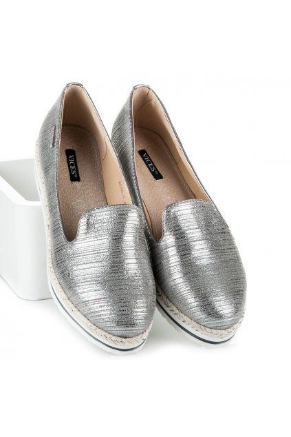 Sivé dámske balerínky NJSK 6066-5G