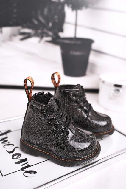 Detské členkové topánky NJSK 20323-1A/2A BLK