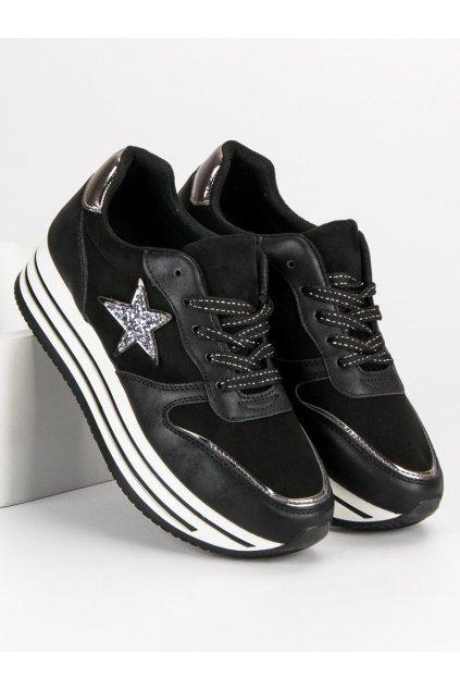 Moderné tenisky na platforme sneakery čierne 8931B