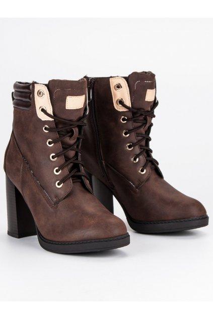 Hnedé dámske topánky na zimu Bello star Y801BR