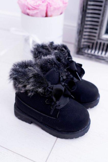Detské čierne členkové topánky NJSK 20314-1A/2A BLK