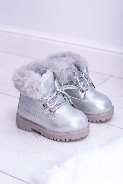 Detské sivé členkové topánky NJSK 20314-1G/2G SILVER