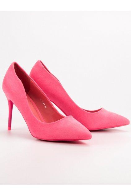 Ružové dámske lodičky na ihlovom opätku Small swan 5015-64P