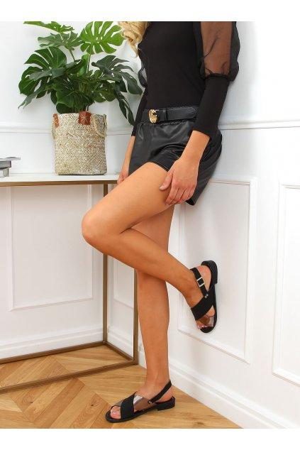 Dámske sandále čierne na plochom podpätku S060117
