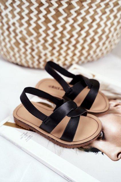 Detské čierne sandále NJSK 269-A BLK