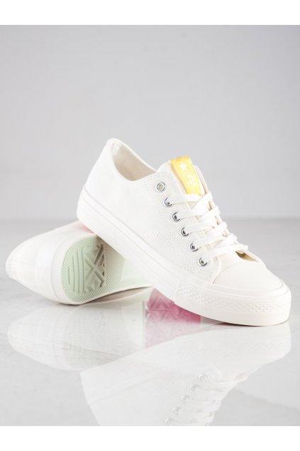 Biele tenisky NJSK 21SP02-4080MU