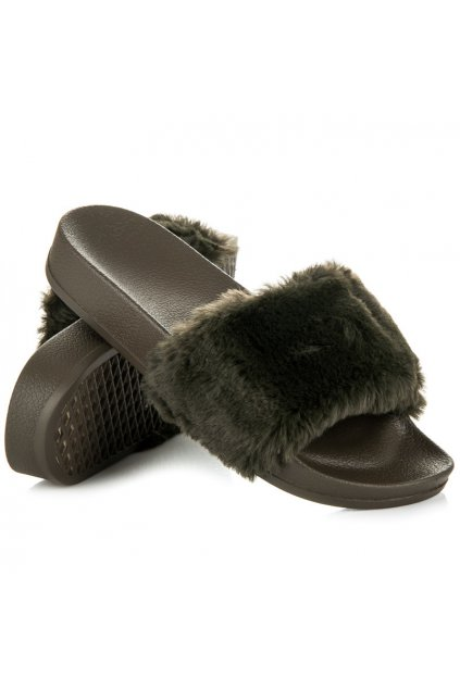 Khaki papuče s kožušinou Eva