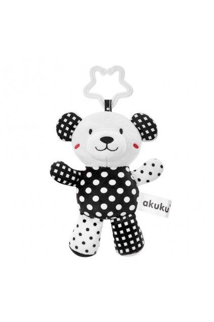 Plyšová hračka s hrkálkou Akuku medvedík čiernobiely