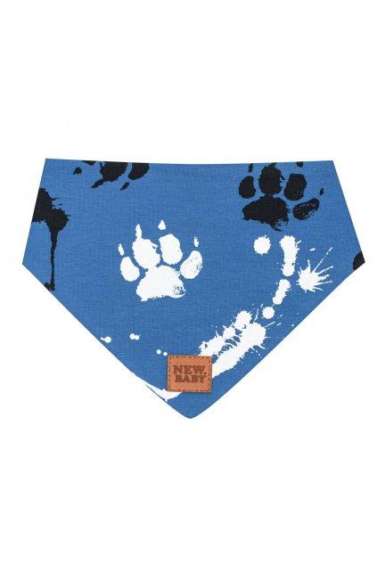 Dojčenská bavlnená šatka na krk New Baby Paw modrá S