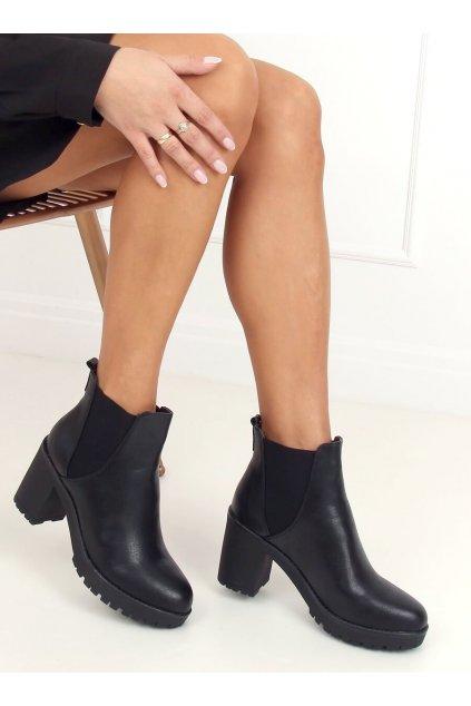 Čierne členkové topánky NJSK J19-129