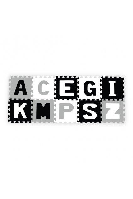 Penové puzzle 30x30 cm 10 ks Baby Ono písmenká šedé