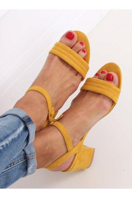 Damske sandále žlté na stĺpovom podpätku 99-61A
