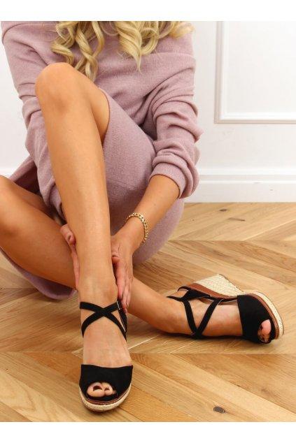 Dámske sandále čierne na platforme FG19