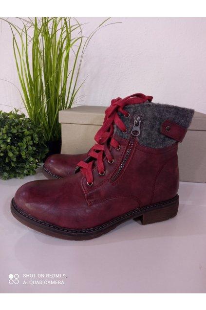 Bordové kožené topánky na zimu NJSK GD-66510BUR