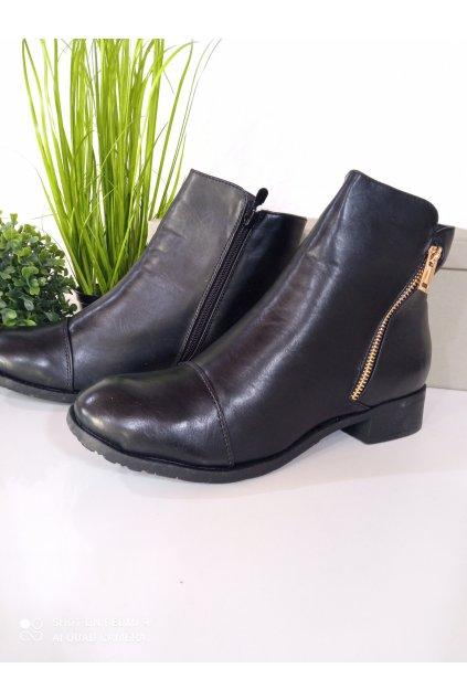 Čierne členkové topánky NJSK J0142B
