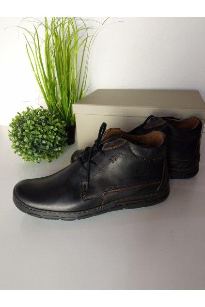 Čierne kožené pánske topánky NJSK J22B