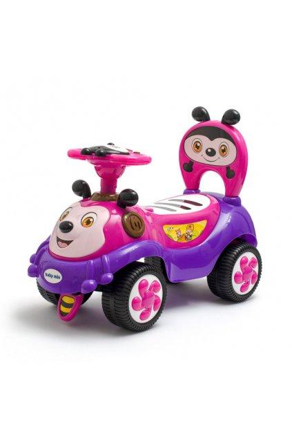 Detské odrážadlo so zvukom Baby Mix Happy Bee ružové