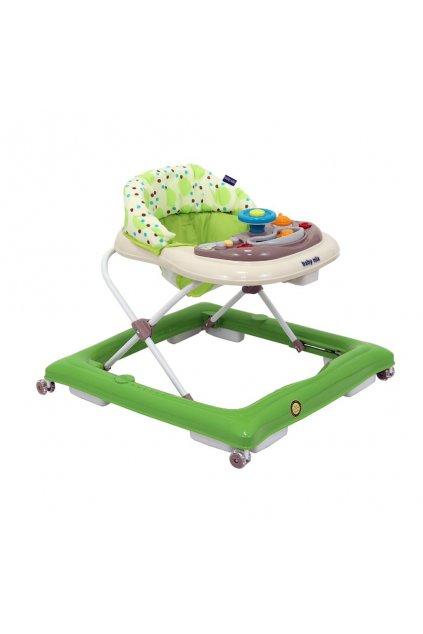 Detské chodítko Baby Mix s volantom a silikónovými kolieskami zeleno-béžové