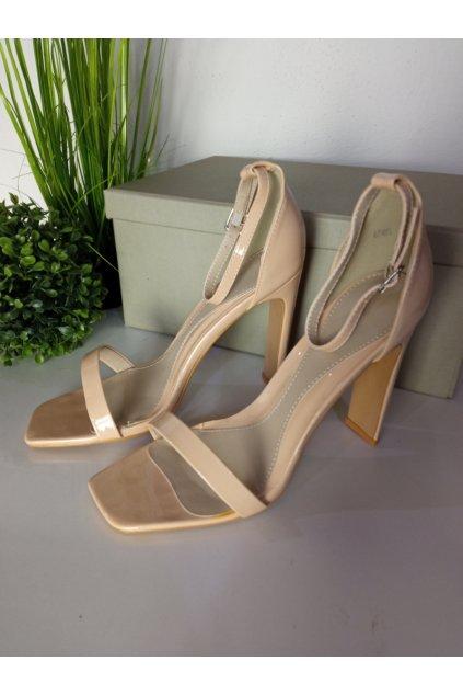Béžové sandále na opätku NJSK 6585