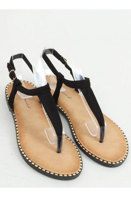 Dámske sandále čierne na plochom podpätku N-102-II