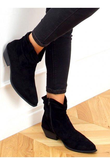 Dámske členkové topánky čierne na širokom podpätku 99-65