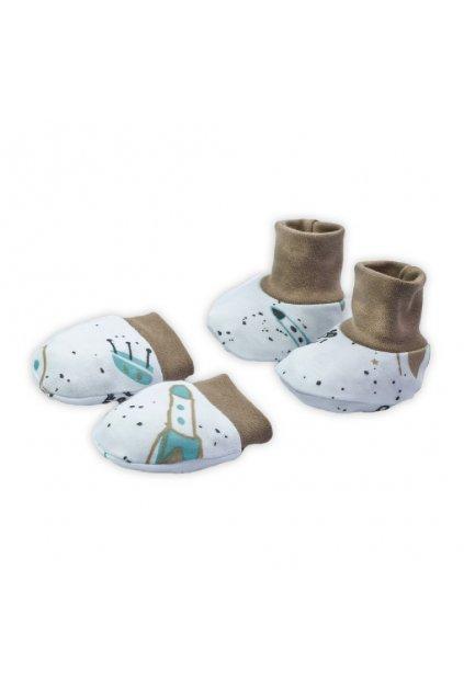 Dojčenský bavlnený set-capačky a rukavičky Nicol Star
