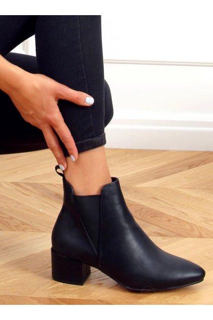 Dámske členkové topánky čierne na širokom podpätku G-248