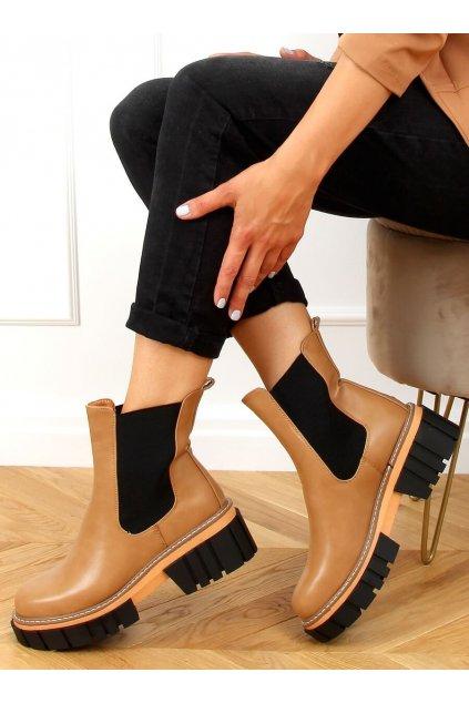 Dámske členkové topánky hnedé na plochom podpätku NS228P