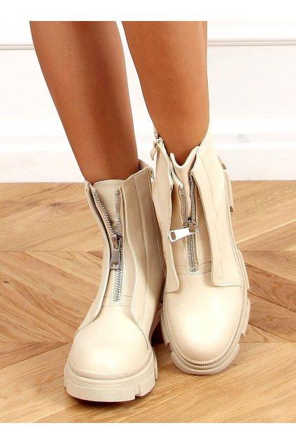 Dámske členkové topánky hnedé na plochom podpätku QT05P