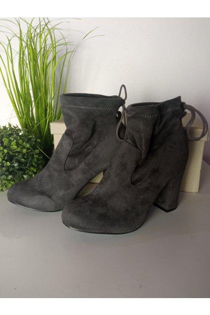 Sivé topánky na vysokom opätku NJSK 99-240G