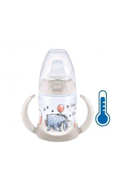 Dojčenská fľaša na učenie NUK Medvedík Pú s kontrolou teploty 150 ml béžová