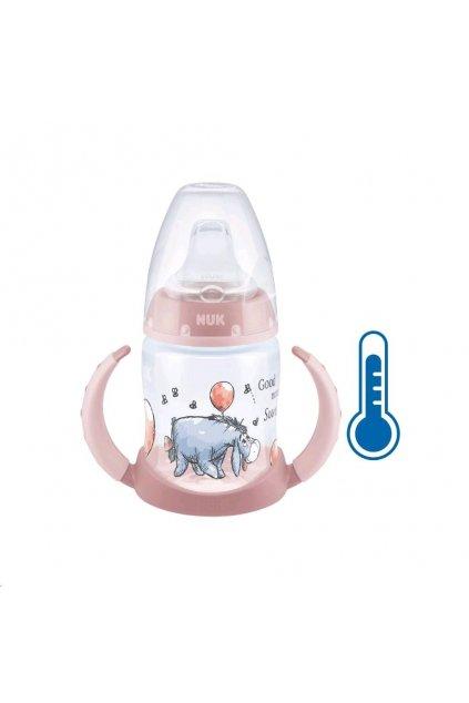 Dojčenská fľaša na učenie NUK Medvedík Pú s kontrolou teploty 150 ml ružová