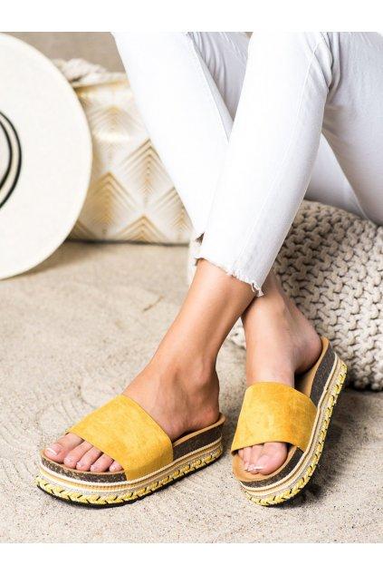 Žlté dámske šľapky Shelovet kod LS015Y