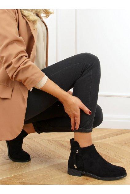 Dámske členkové topánky čierne na plochom podpätku MR-10
