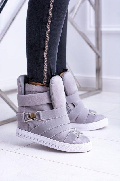 Dámske tenisky farba sivá kód obuvi XW37001 GREY SUEDE