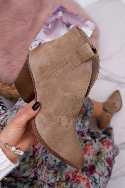 Členkové topánky na podpätku farba hnedá kód obuvi 2451 BEŻ/W