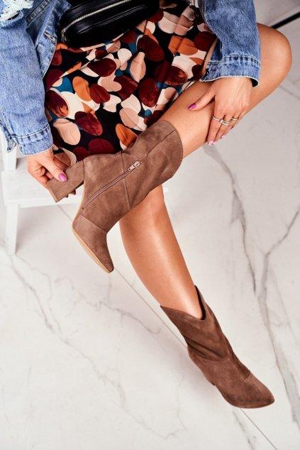 Členkové topánky na podpätku farba hnedá kód obuvi 2123 KHAKI 274