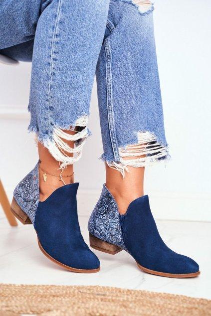 Členkové topánky na podpätku farba modrá kód obuvi 04091-47/00-5 GRANAT