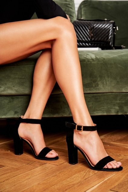 Dámske sandále na podpätku farba čierna kód obuvi 1760 081 SUEDE BLK