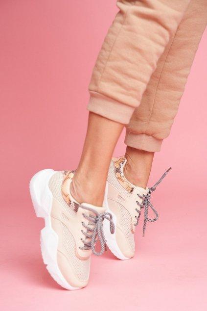 Dámske tenisky farba hnedá kód obuvi BL192 BEIGE