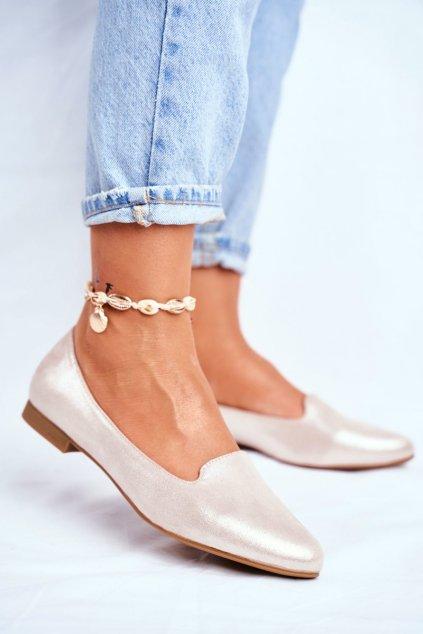 Dámske balerínky farba hnedá kód obuvi BL610 BEIGE GOLD