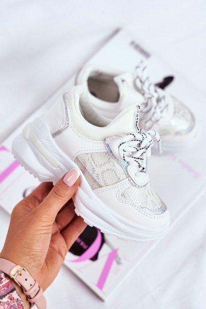 Detské tenisky farba biela kód obuvi 899-A SILVER/ ALL WHITE