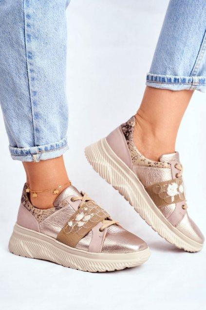 Dámske tenisky farba hnedá kód obuvi 04448-25/00-5 GOLD/BEIGE